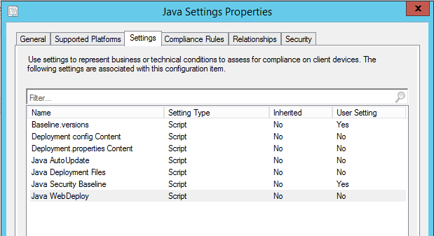 Disabling Java Content in all Browsers with ConfigMgr Compliance